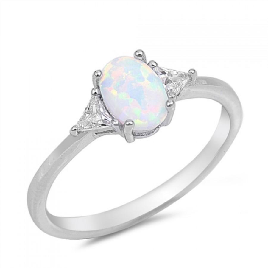 Wedding - 1CT Oval Cut White Opal Ring 925 Sterling Silver Lab Created White Australian Opal Triangle Clear Diamond CZ Accent Wedding Engagement Ring