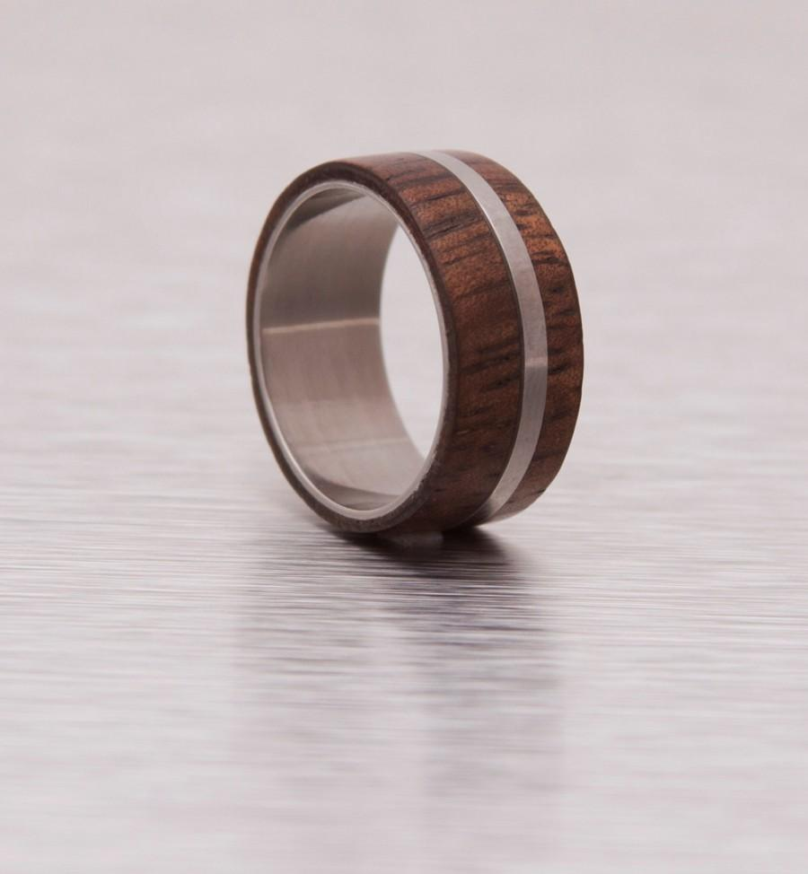 Wedding - Mens Wood Ring WIth Titanium Ring Mens Wedding Band Silver Ring