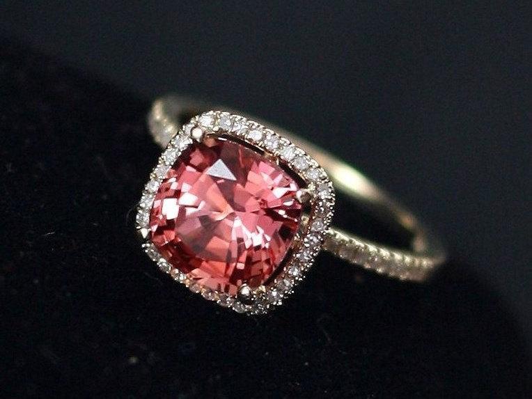 Свадьба - Padparadsha Sapphire Cushion & Diamonds Halo Engagement Ring Cuscino Grand 3ct 8mm Custom Size White-Yellow-Rose Gold-10k-14k-18k-Platin
