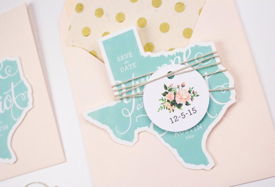 Свадьба - Texas save the dates - rustic state save the dates pack of Ten