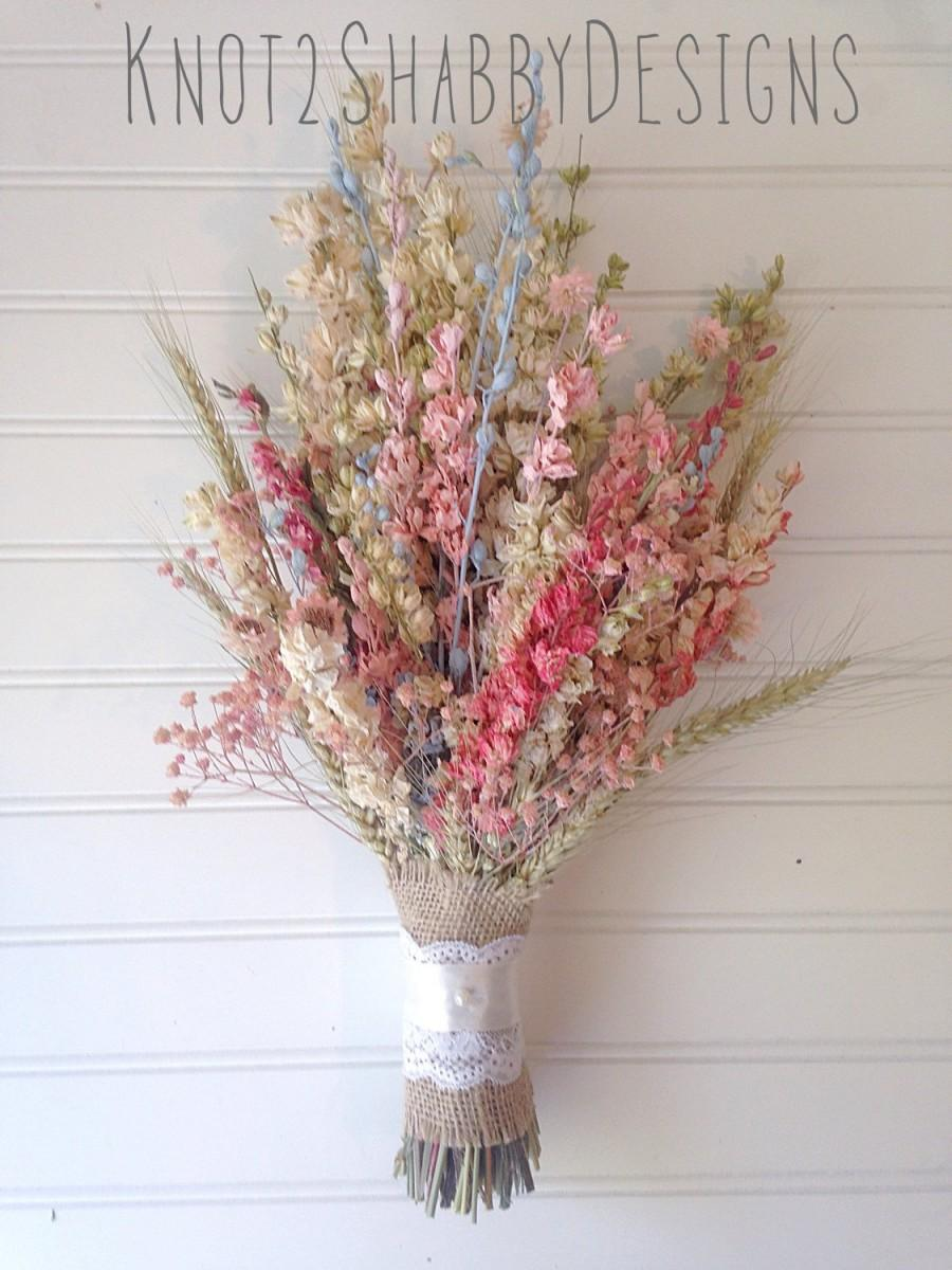 Dried Flower Bridal Bouquet - Dried Flowers - Pink - Blue ...
