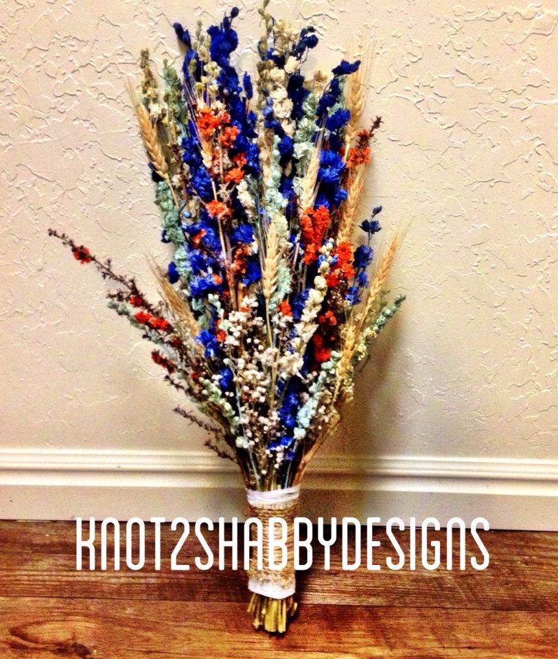 Hochzeit - Wedding - Dried Bridal Bouquet - Shabby Chic Wedding - Dried Flowers - Dried Bouquet- Preserved bouquet - Blue Bouquet -