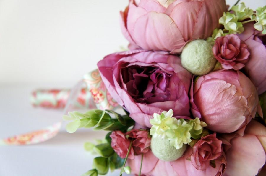 Blush Peony Bridal Bouquet, Silk Wedding Flowers, Vintage Wedding ...
