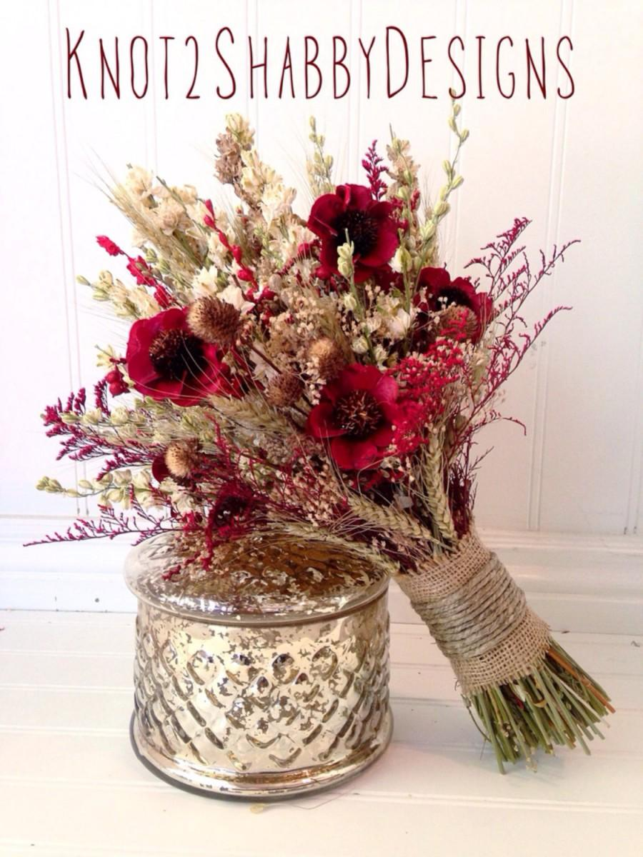 Mariage - Wildflower bouquet - Wedding - Dried Bridal Party Bouquets - Dried flowers  - fall bouquet -country wedding - dried flowers -thistle bouquet