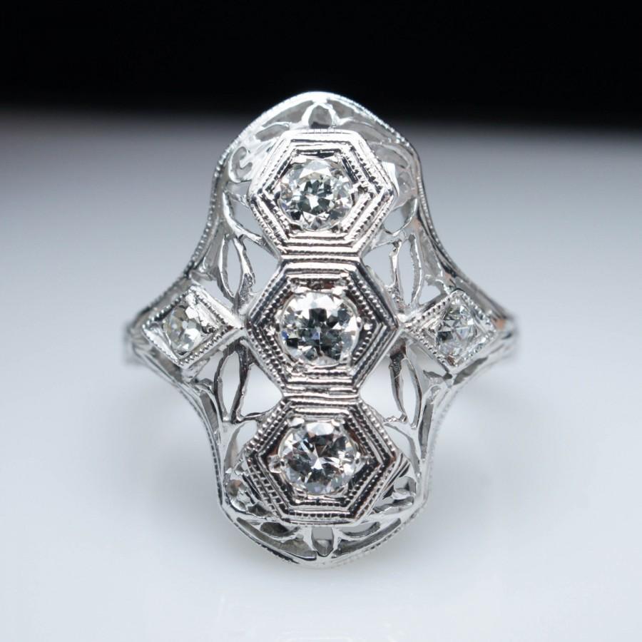 Wedding - Vintage Art Deco .44cttw Old European Cut Diamond Ring - 18k White Gold - Engagement Ring - Free Sizing