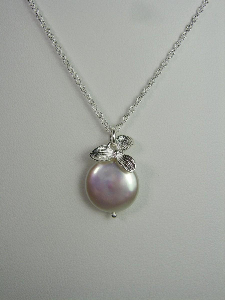 Orchid Bridal Necklace Coin Pearl Necklace Bridesmaid Jewelry