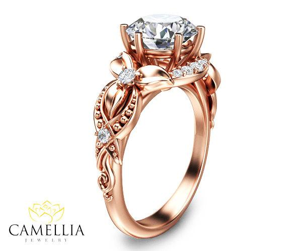 Wedding - 14K Rose Gold Diamond Ring,Art Deco Engagement ring,Leaf and Flower Ring,Wedding Ring,Promise Ring,Camellia Jewlry,Unique Engagment Ring.