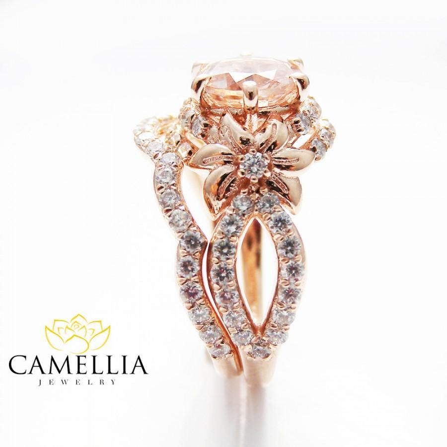 Rose Gold Diamond Bridal Ring Set Unique Morganite Bridal Ring Set