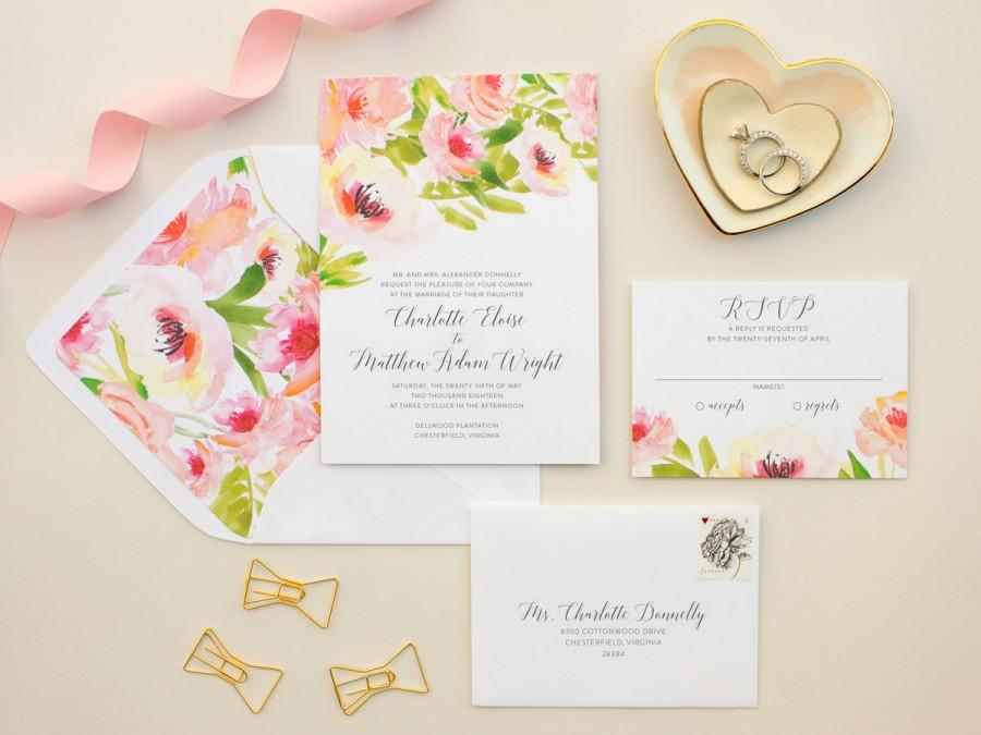 Wedding Watercolor Floral Wedding Invitations Pink Flowers