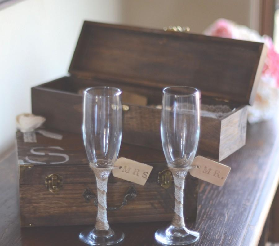Mariage - Wedding Cake Knife Set and Toasting Glasses by Burlap and Linen Co