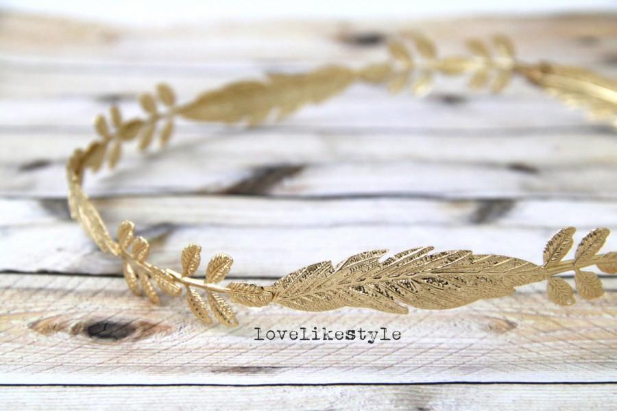 Свадьба - Gold Leaf Crown, Laurel Wreath Headband,Wedding Head Piece,Branch Headband,Boho Crown Headband
