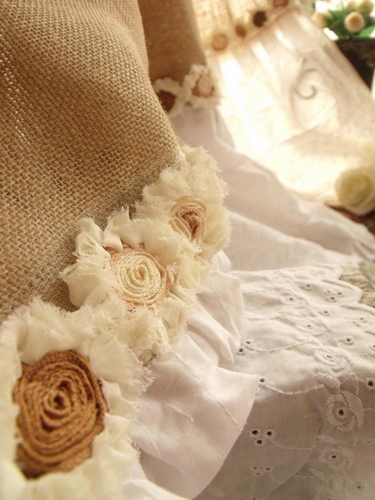 Vintage Hand Crochet SHABBY Rustic Chic Burlap SHOWER Curtain ROSETTE White Tie