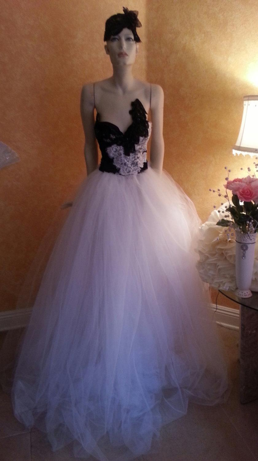 Sample Gown Listing Black White Corset Tulle Crystal Sequin Lace Vintage Victorian Inspired Bridal Wedding Ball