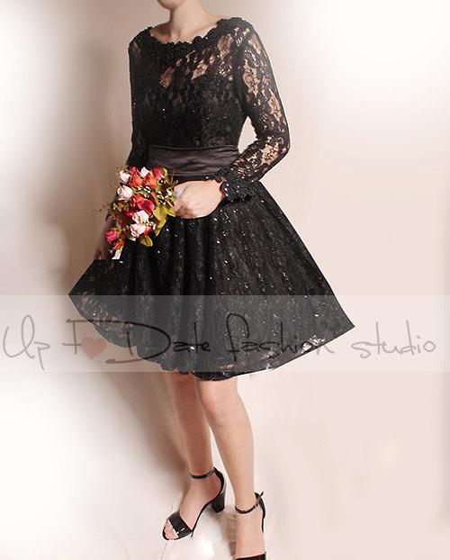 Plus Size Short Black Wedding Lace Dresses Long Sleeves Bridal