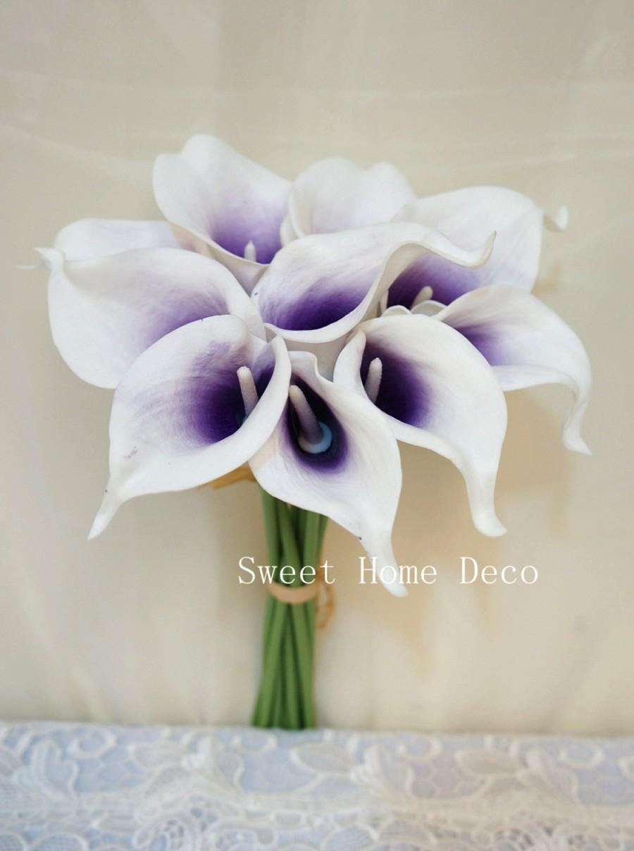 "Mariage - JennysFlowerShop Latex Real Touch 15"" Artificial Calla Lily 10 Stems Flower Bouquet for Home/ Wedding Purple"
