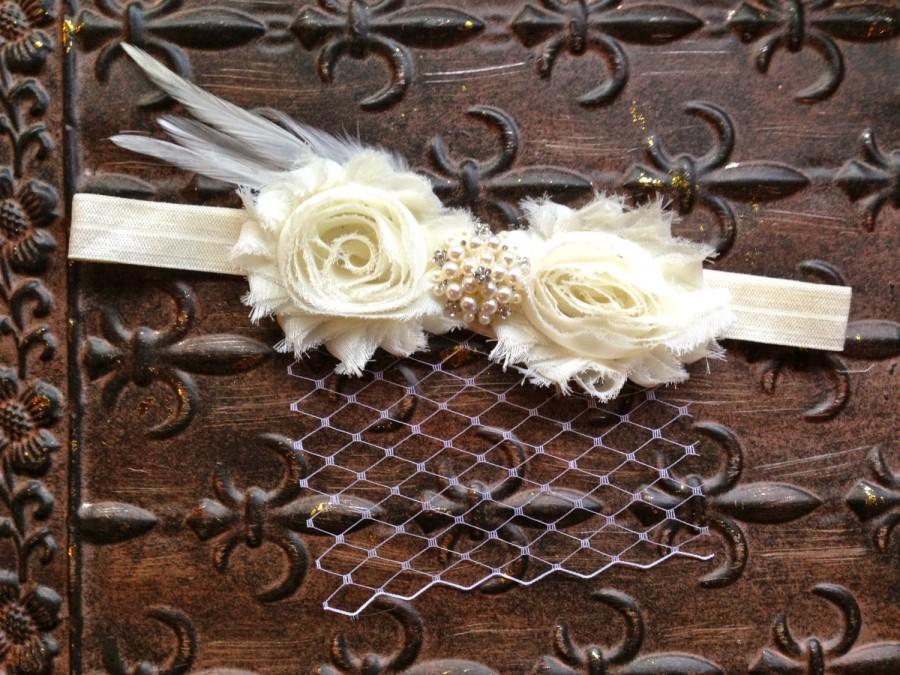 Mariage - Ivory Flower Girl Headband, Ivory Pearl Flower Girl Hair Accessory, Ivory Flower Girl Head Piece, Flower Girl Halo, Ivory Photo Prop