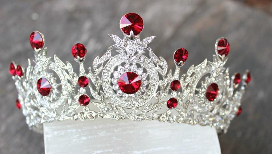Wedding - Ruby Crown, Edwardian Full Bridal Crown, Swarovski Crystal Wedding Crown, TANYA Crystal Wedding Tiara, Diamante Tiara, Bridal Tiara