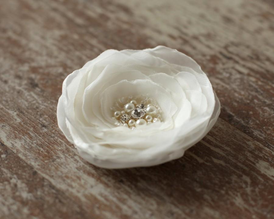 Mariage - Ivory wedding hairpiece flower bridal hair accessories pearls  wedding hair fascinator lace hair clip rhinestone, fascinator