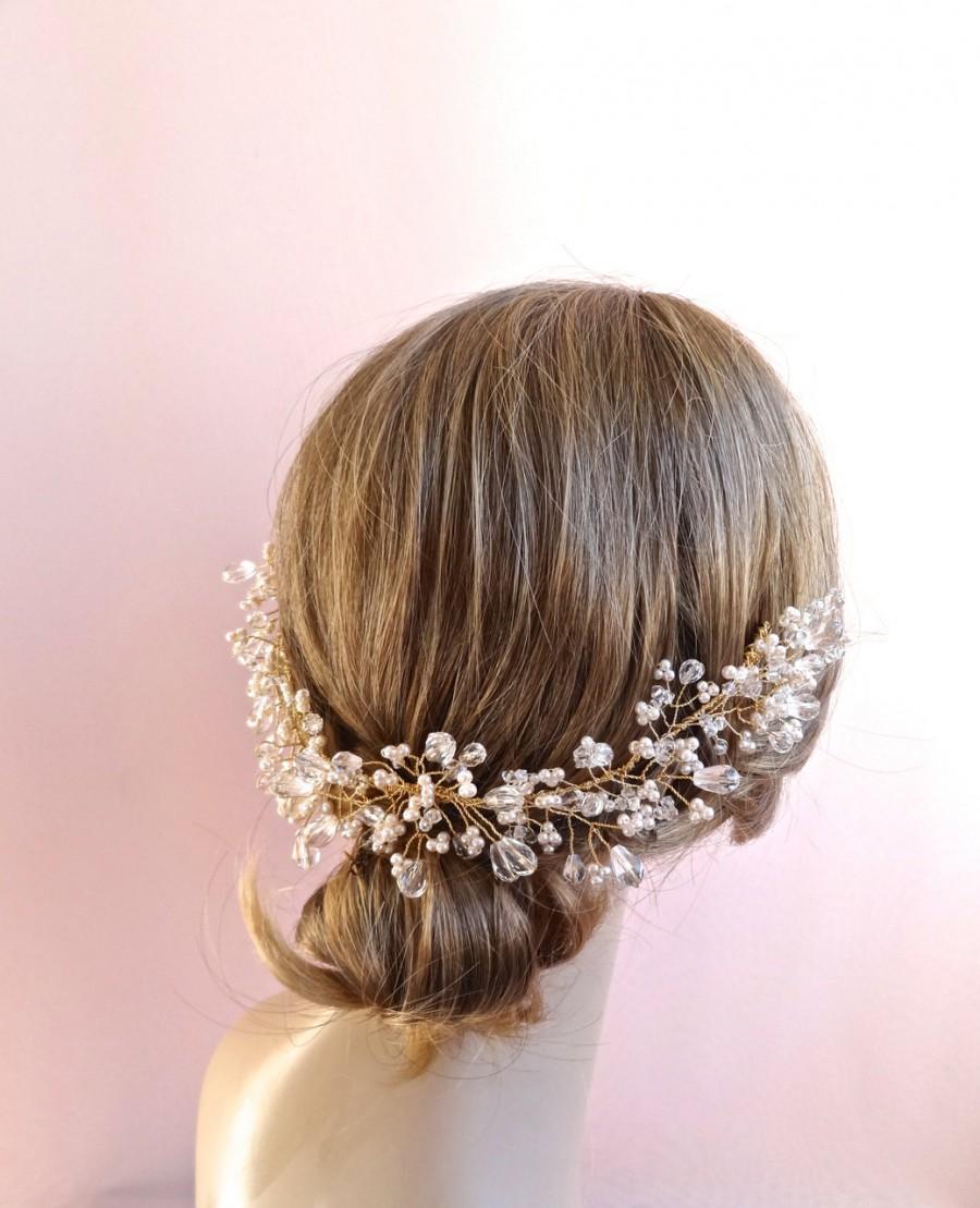 Wedding - Bridal hair vine, crystal wedding headpiece, crystal crown, luxury bridal, pearls & teardrop crystals twisted on wire, Style 421