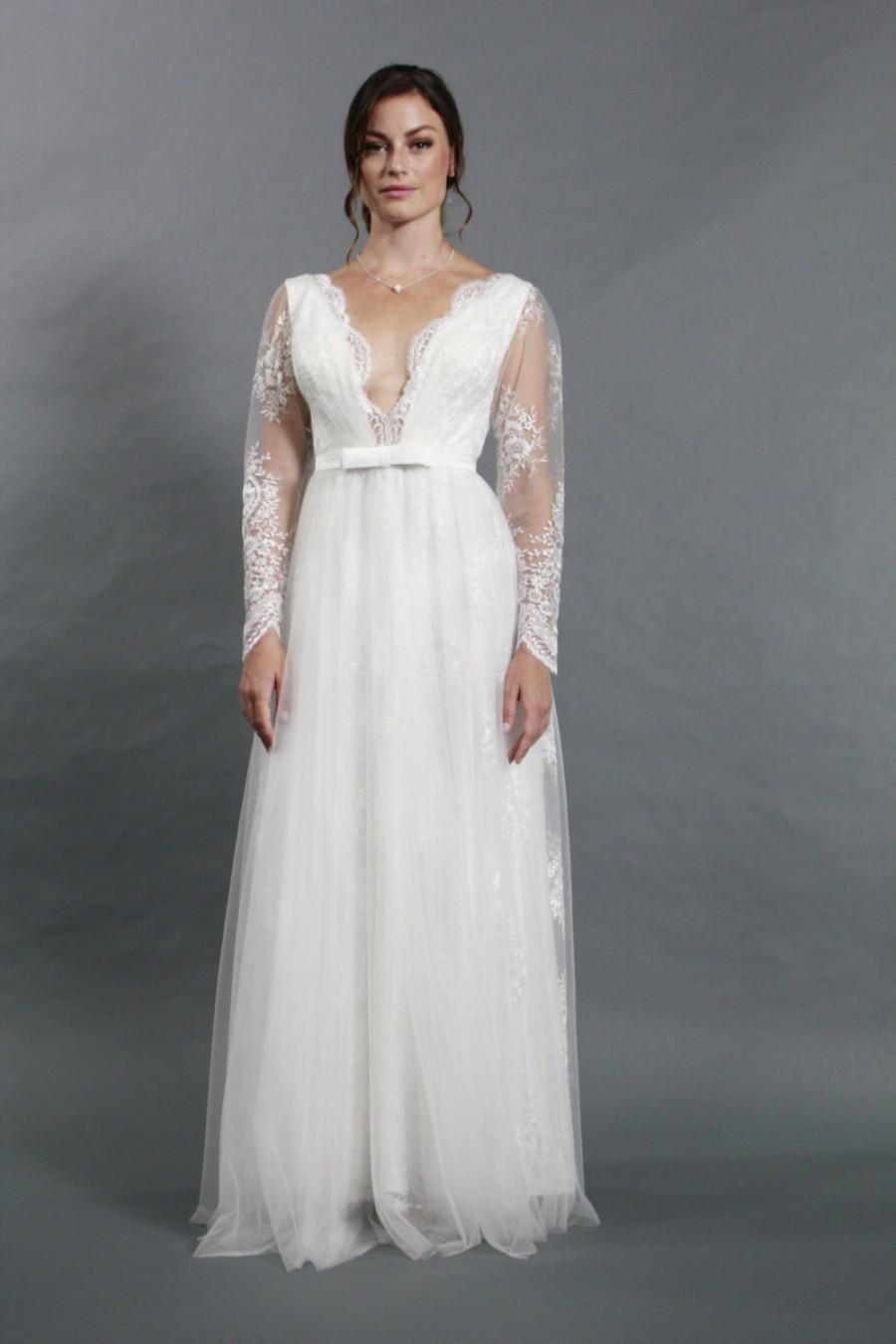 Sexy deep v neckline long sleeves lace a line wedding for Long sleeve v neck wedding dress