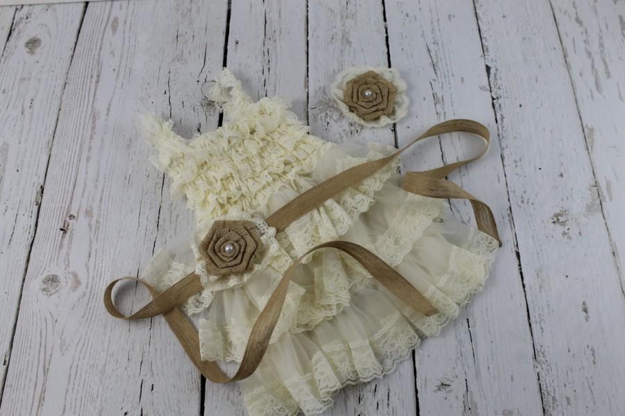 Hochzeit - Burlap Flower Girl Dress Ivory Lace Flower Girl Dress Rustic Country Lace Dress Vintage PettiDress Jr Bridesmaid Dress Shabby Chic Wedding