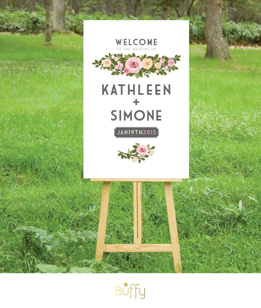 Mariage - The FRANKIE . Welcome Wedding Sign . White Blush Pink Peach Vintage Roses Floral Wreath . Custom Personalized Poster . PDF