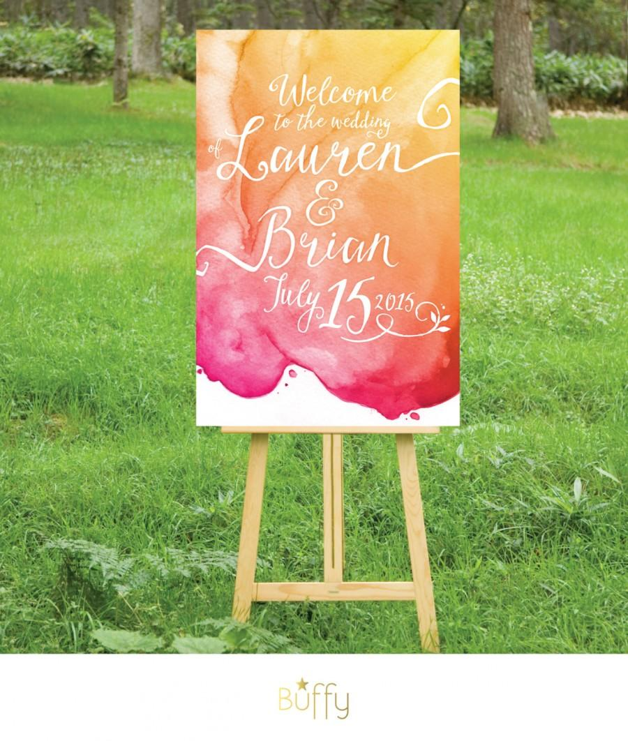 زفاف - The LAUREN . Welcome Sign Calligraphy & Watercolor Wedding . Gold Magenta Orange Yellow . Sunset Beach Outside Custom . Party Birthday PDF