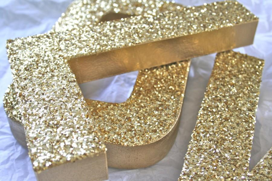Mariage - Glittered Letters or Numbers, Wedding or Party Decor Photo Props, Self Standing