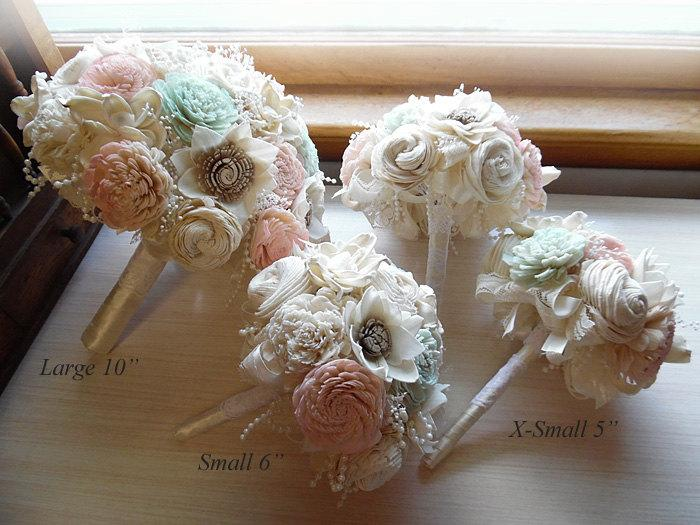Wedding - Pale Pink & Mint Green Bridal Bouquet, Bridesmaid Bouquet, Sola Flowers, Ivory Satin, Lace and Pearls. Made to order.