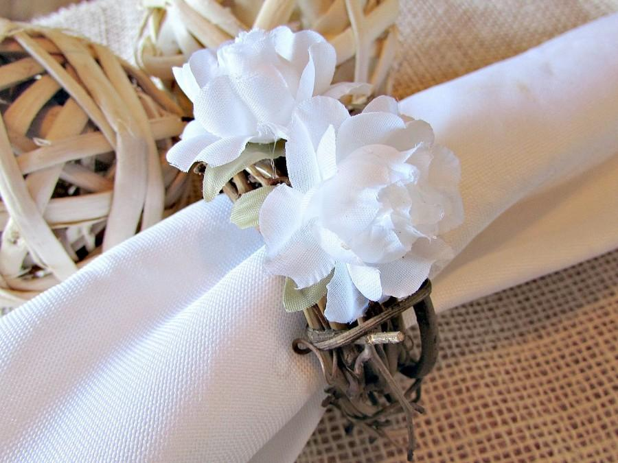 wedding napkin rings white rose napkin rings flower napkin rings rustic napkin ring country farm woodland wedding decor table decoration - Wedding Napkin Rings