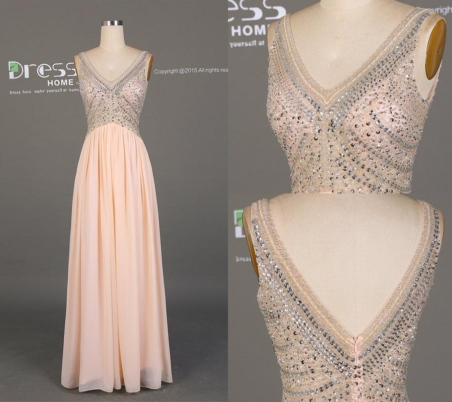 new design peach chiffon long prom dresssexy v neck