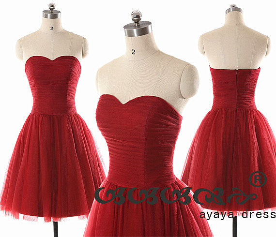 Свадьба - On Sale!! Short Bridesmaid Dress , wine red bridesmaid dresses, Bridesmaid dresses with Sweetheart Neckline,prom dress,evening dress 2015,