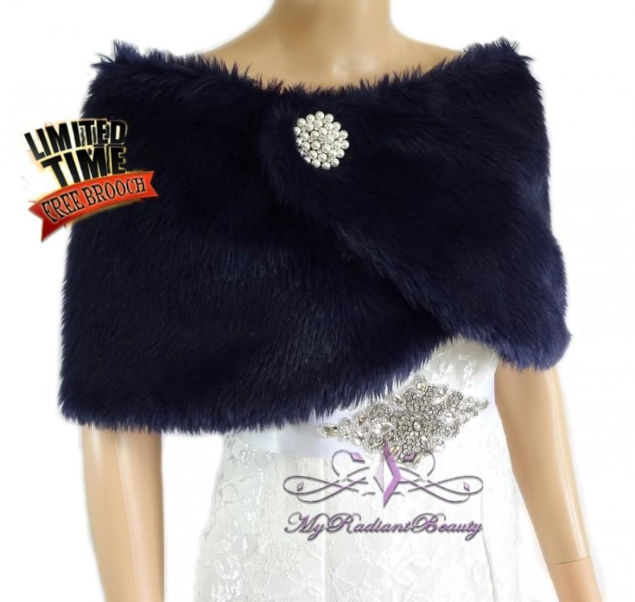 Bridal faux fur wrap navy blue fur stole wedding fur shrug fur bridal fur wrap bridal stole - Stoel fur ...