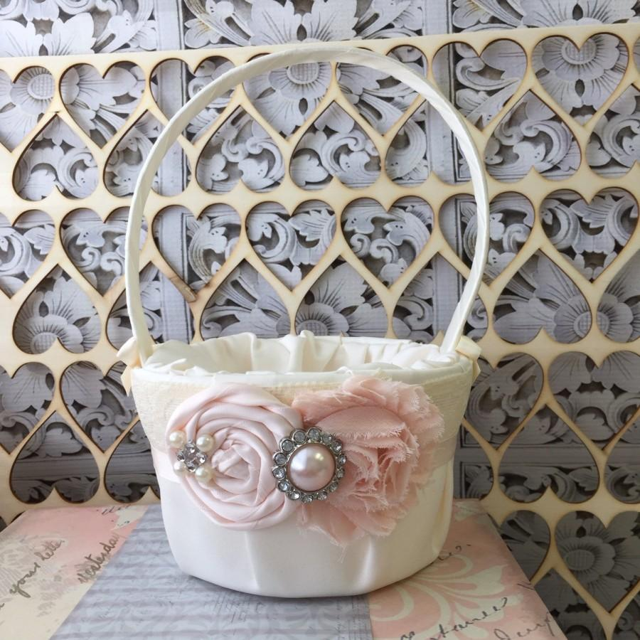 3ec41d4c4d Blush Flower girl basket   rustic wedding basket   blush pink wedding   wedding  basket