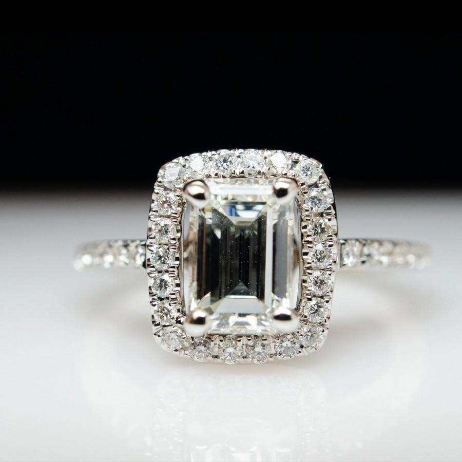 1 05 Ct Emerald Cut Halo Diamond Engagement Ring & Wedding Band Set 14k W