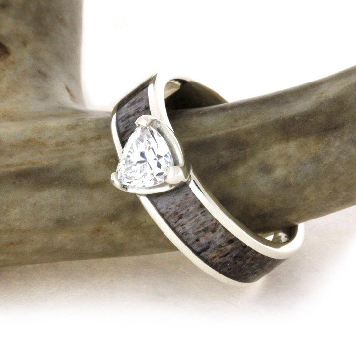 antler wedding ring cubic zirconia set on a sterling silver ring with dark antler inlay hunters wedding band - Antler Wedding Rings