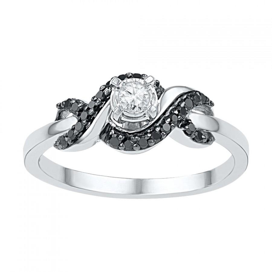 White And Black Diamond Ring, White Gold Or Sterling Silver Promise Ring,  Fashion Ring For Women
