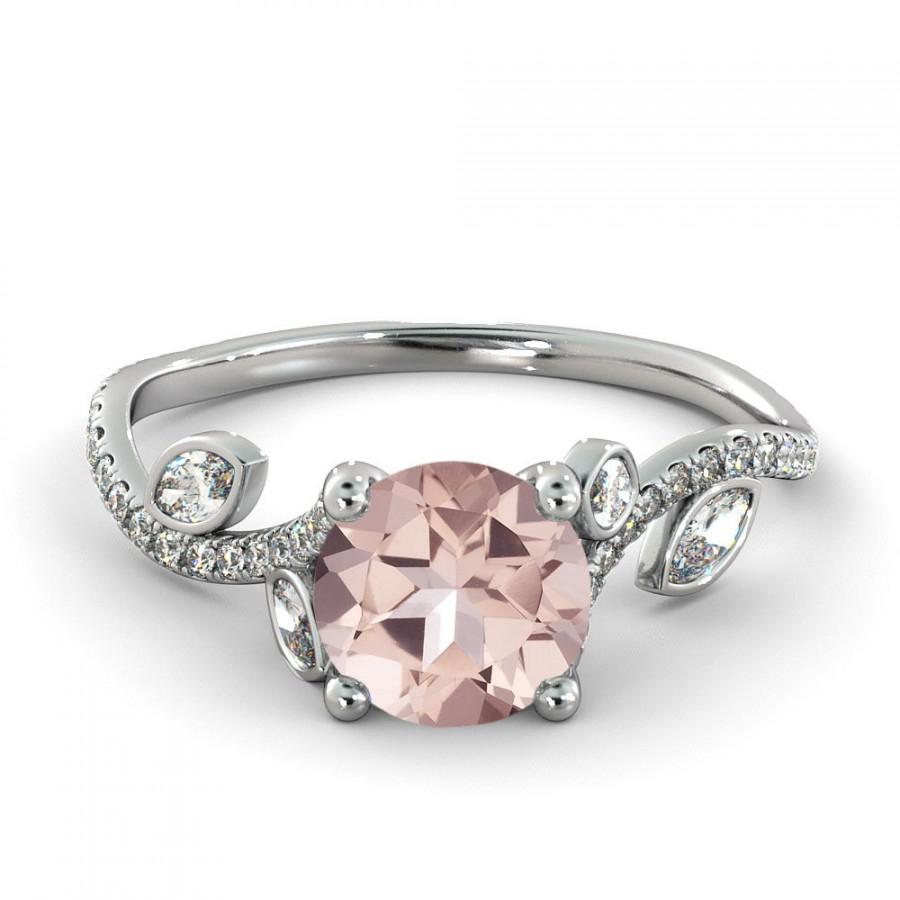 Mariage - 1.00 CT Natural 5MM Leef Pink Morganite Filigree Engagement Ring 14k White Gold Large Morganite Ring