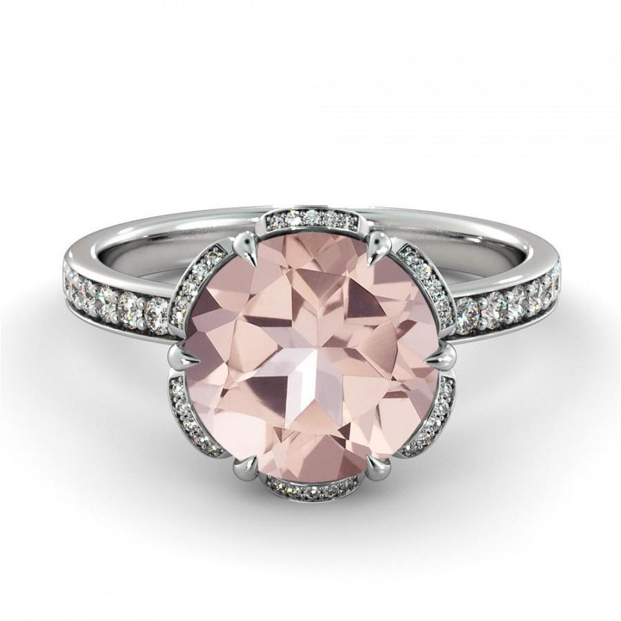 Mariage - 1.00 CT Natural 5MM Flower Pink Morganite Filigree Engagement Ring 14k White Gold Large Morganite Ring