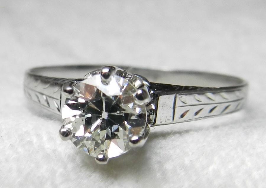 Mariage - Antique Diamond Engagement Ring 1920's Ostby Barton Old European Cut 0.65 ct Diamond 18k White Gold