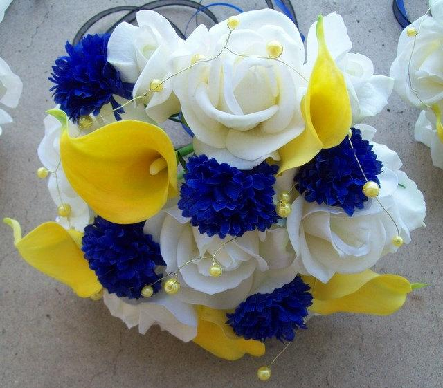 Mariage - Real Touch Roses and Calla Lilies Silk Flower wedding Package Yellow and Royal Blue Flowers 6 Pieces Made to Order