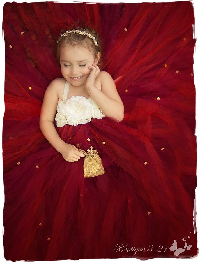 Cranberry Flower Girl Dress, Cranberry Tutu Dress, Burgundy Flower ...