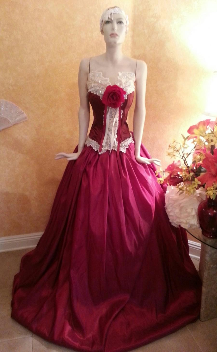 Mariage - Sample Gown Listing / Ruby Middle Eastern Indian Goddess Vintage Victorian Inspired Taffeta Bridal Wedding Ballgown (All Sizes)
