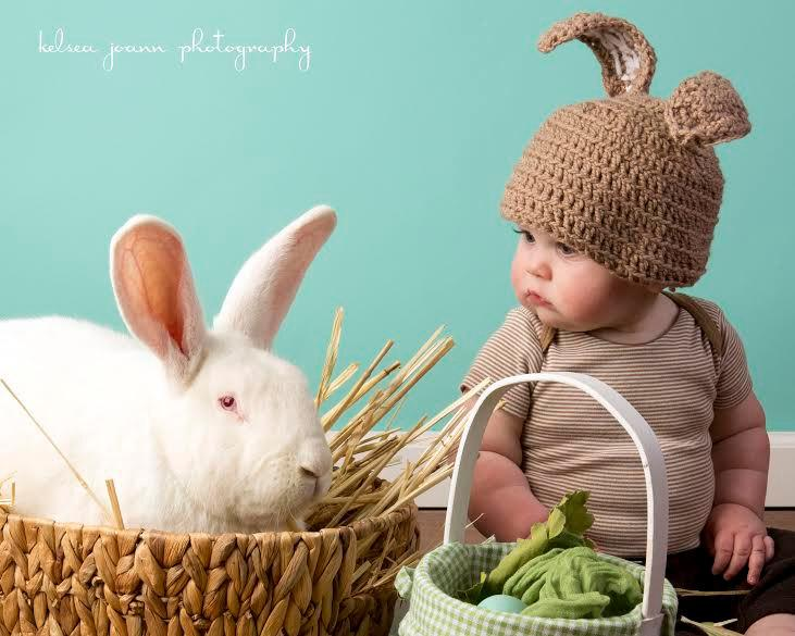 Mariage - Velveteen Easter Bunny Rabbit Crochet Baby Hat- Brown White Soft Cozy Cuddle 13 Colors!