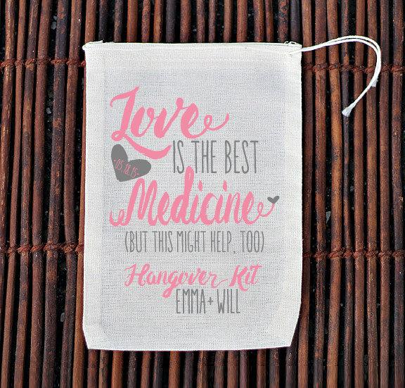 Wedding - Love is The Best Medicine Hangover Kit Wedding Welcome Bag- Muslin Cotton Mini Favor Bags