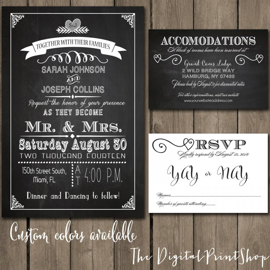 rustic chic wedding reception invitation chalkboard printable modern