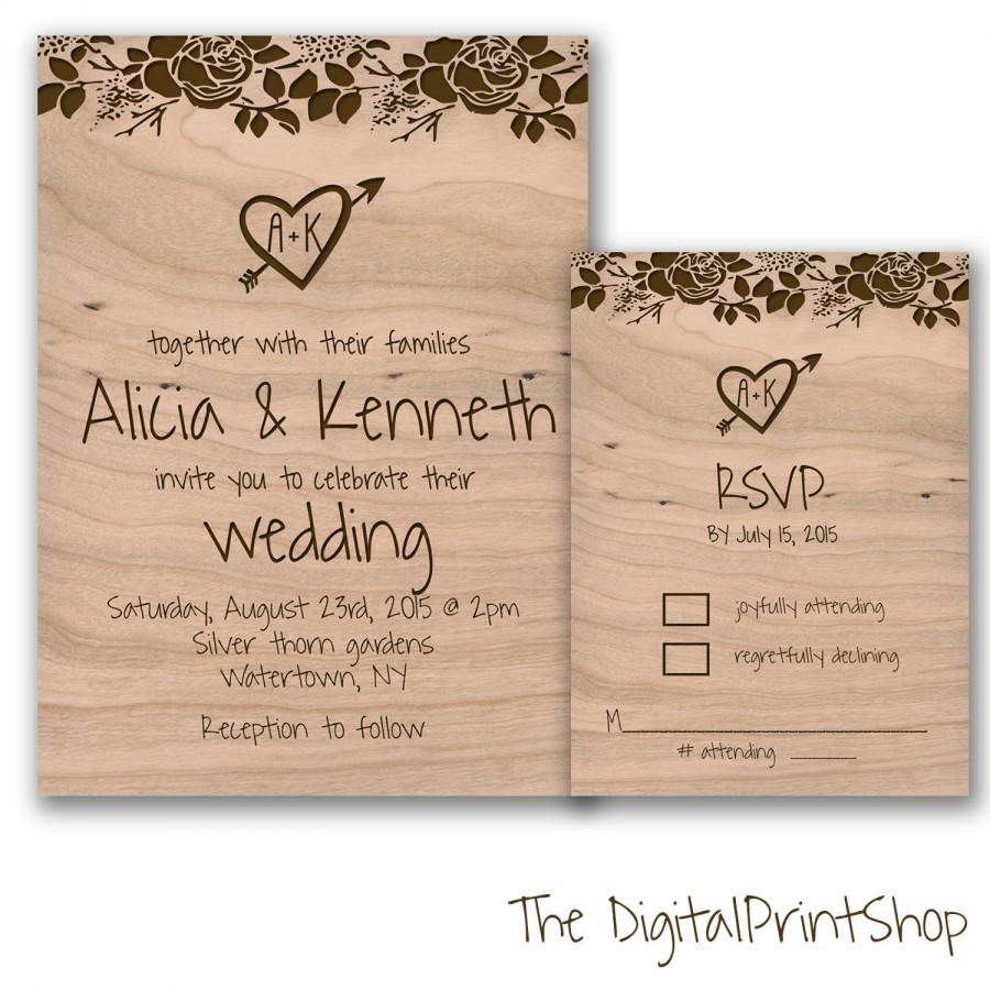 Rustic Chic Wedding Invite Unique Wedding Reception Invitation Wood ...