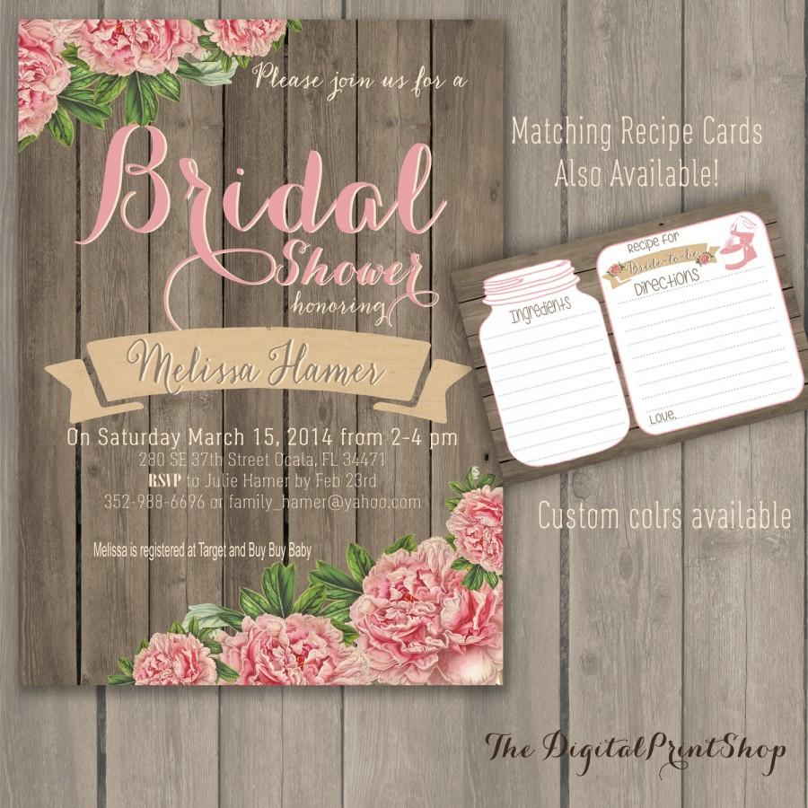 Hochzeit - Rustic Winter wedding bridal shower invite wood pink peonies lace cottage chic INVITATION Printable DIY (93) Digital Downloadable (.jpg)