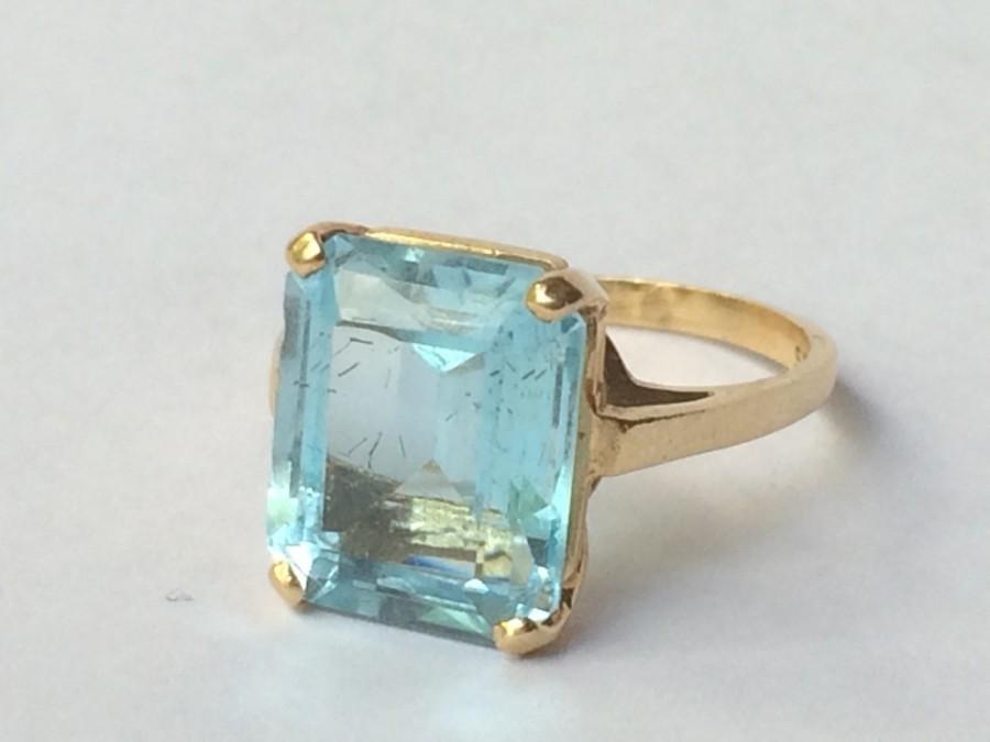 Vintage Blue Topaz Ring In 14k Yellow Gold Setting Sky Blue Topaz
