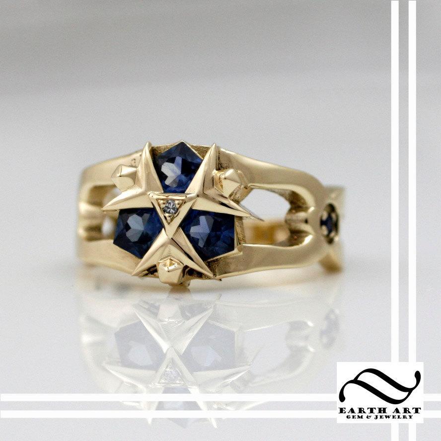 Mariage - 14k Zoras Sapphire Ring - Custom Cut Sapphires